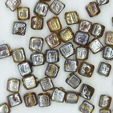 Glass Beads Brown Luster Square Cube 6mm. Pack of 50. Made in India.