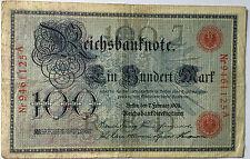 100 Einhundert Mark 1908 rot  Ro33 Udr. J heller Adler  Deutsches Reich (36)
