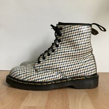 VINTAGE Dr. Doc Martens Leather Boots Rare Plaid MADE IN ENGLAND UK 7 US M8 W9