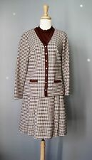 Vintage 70s Dress Knit Severe 2 piece dress Brown White Check Costume