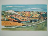 Rare illustration Yves BRAYER années 50 SNCF Voie ferrée train paysage Provence