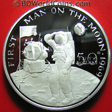 1989 Marshall Island $50 1oz Silver Proof Armstrong Us Flag Moon Space Astronaut