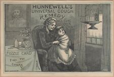 Victorian Puzzle Trade Card-Hunnewell's Cough Remedy-Boston, MA-Find Canary