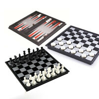 3in1 Chess Set with Folding Magnetic Chess Checkers Backgammon Draughts Gifts