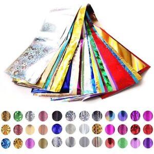 30 Nail Foils Art Wrap Transfer Foil Glitter Stickers Polish Decal Manicure UK