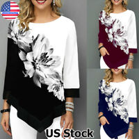 Women Floral Print Long Sleeve Tops Ladies Casual Loose Irregular Blouse T-Shirt