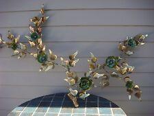 MID CENTURY WALL ART BRONZE CERAMIC SCULPTURE PAIR FLOWER SIGNED AIRCO