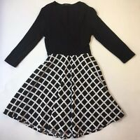 Mphosis Black and White Print with Knit Top Flare Dress, Size M