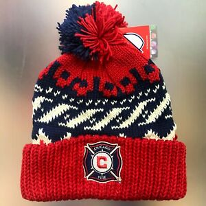 Chicago Fire SC Official MLS Adidas Cuffed Knit Winter Hat With Pom - Red