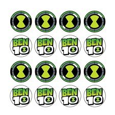 16x EDIBLE Ben 10 omnitrix Birthday Cupcake wafer Toppers 4cm (uncut)