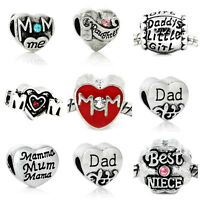 Various Family Charm Beads 1:  European Bracelets Mom Dad Daughter Nana Heart