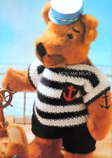 Knitting Pattern TEDDY BEAR Clothes NAUTICAL SAILOR OUTFIT Sweater Shorts DOLLS