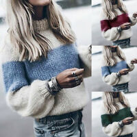 Women Winter High Collar Loose Sweater Casual Long Sleeve Baggy Knitted Pullover