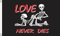 LOVE NEVER DIES 5x3 feet FLAG 150cm x 90cm SKELETONS VALENTINES DAY VALENTINE