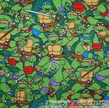 BonEful Fabric FQ Cotton Flannel Quilt BOY Teenage Mutant Ninja Turtle Fun Comic
