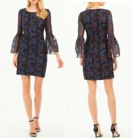 Nicole Miller NY Black Embroidered Tulle Long Bell Sleeve Sheath Dress 2 NWT