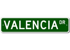 VALENCIA Street Sign - Personalized Last Name Sign