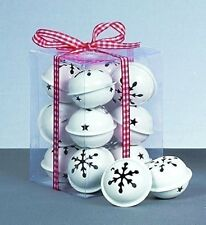 12 White Snowflake Jingle Bells Baubles Christmas tree Decorations arts crafts