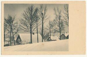 German illustrated postcard - Winter landscape, houses, trees