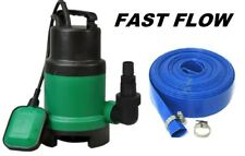 Submersible Water Pump Electric Dirty Clean Pond Pool Well Flood & 10m Hose 400W