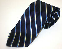 Brooks Brothers Woven Silk Blue and White Striped Tie Classic Ivy Trad Made USA