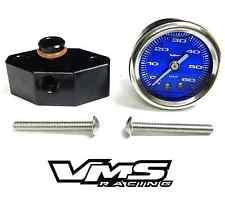 "VMS 05-10 MUSTANG 1 1/2"" 60PSI BLUE FUEL PRESSURE GAUGE LIQUID FILLED ADAPTER"