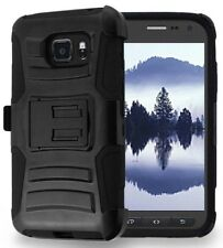 BLACK RUGGED CASE with STAND + BELT CLIP HOLSTER FOR SAMSUNG GALAXY S7 ACTIVE