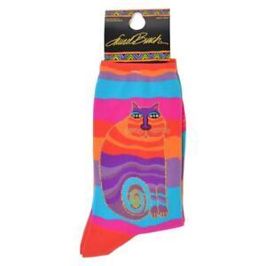 "Laurel Burch ""Wavy Stripe Rainbow Cat""  Socks * One Size Fits Most"