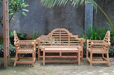 "Lutyens 4Pc Set Premium Grade A Teak, 65""  Bench, 2 Chairs & Table, LIST $4700"