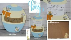(12) HUNNY POT Winnie the Pooh Baby Shower Invitations, open pot for the invite