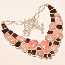 110 Gm Natural Rhodochrosite Cab,Garnet Cut Silver Overlay Necklace Ss-519