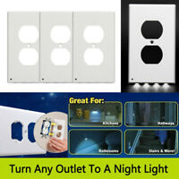 3pcs Outlet Wall Plate 4-Led Night Lights Cover Duplex With Ambient Light Sensor