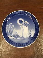 Vtg 1945 ROYAL COPENHAGEN Blue White Christmas Plate Peaceful Motif Angel/Flower