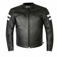 Men's Premium Leather Street Cruiser Armored Biker Motorcycle Riding Jacket