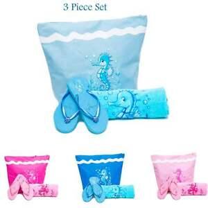 Beach Bag womens PLUS Towel PLUS Flip Flops 3 PCE Set Cotton Towels Tote Bags