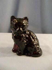 Mosser Almost Black Dark Amethyst Purple Glass Cat Figurine