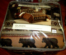 CROSCILL $500 Queen Comforter Bed 4pc Set CARIBOU BEARS CABIN riverdale brown