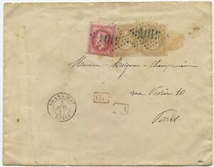 Frankreich Post China PD Brief Shanghai Paris Frankreich 1872
