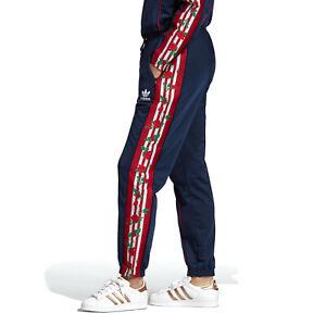 adidas Originals Women's Floral 3-Stripes Tape Track Pants Joggers Bottoms Blue
