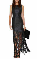 Women Genuine Lambskin Leather Evening Long Fringe Ladies Party Leather Dress