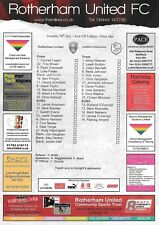 Teamsheet - Rotherham United v Sheffield Wednesday 2011/12 Pre-Season Friendly