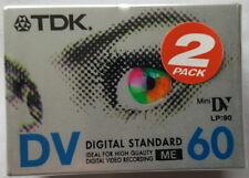 2 X TDK MINI VIDEO TAPE DIGITAL STANDARD DV60 LP90 NEW & SEALED