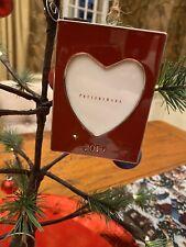 Pottery Barn 2019 Dated Enamel Frame Red Heart Christmas Ornament NEW Valentine