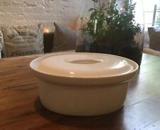 VINTAGE OVAL COVERED CASSEROLE DISH DUTCH OVEN CERAMIC PORCELAIN WHITE