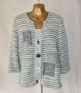 PER UNA - Silver Grey Large Button Cardigan with 3/4 Sleeves - XL / UK Size 18