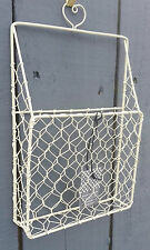 SHABBY CHIC SMALL CREAM WIRE WALL LETTER RACK STORAGE BASKET UNIT METAL TIDY