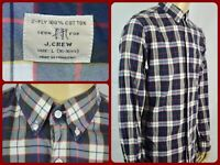 J.Crew Blue White Red Plaid 2-Ply Button-Down Mens Large Dress Casual Shirt