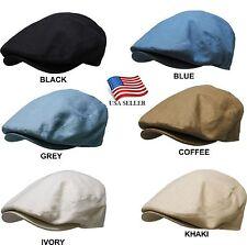 Men's Cabbie Solid Newsboy & Ascot Ivy Gatsby Hat Cap Golf Summer All Colors NEW