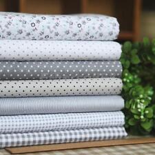 Bundle 7pcs 100% Cotton Floral Dot Fabric Quilt Vintage Grey Series 45x45cm