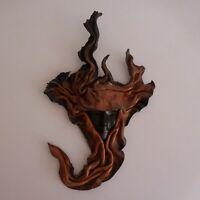 Masque visage sculpture cuir fait main vintage art déco ethnique XXe N4411